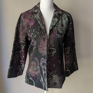 Chico's 1 (Medium) Floral Jacquard Metallic Jacket